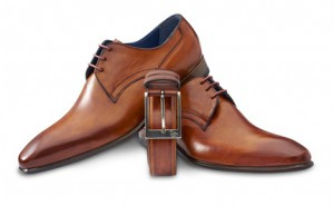 brown leather shoes with belt and clipping path.